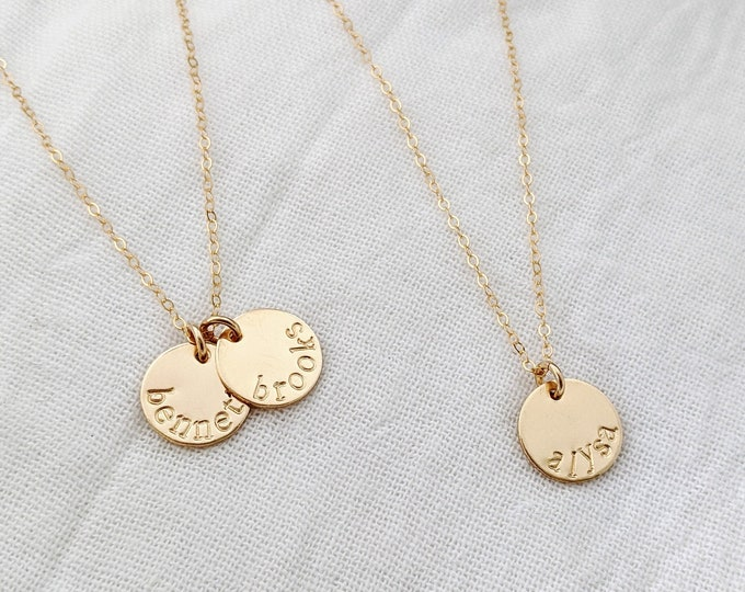 Tiny Gold Name Necklace, Gold Name Charms, Hand Stamped Jewelry, Tiny Name Charms, The Stamped Life