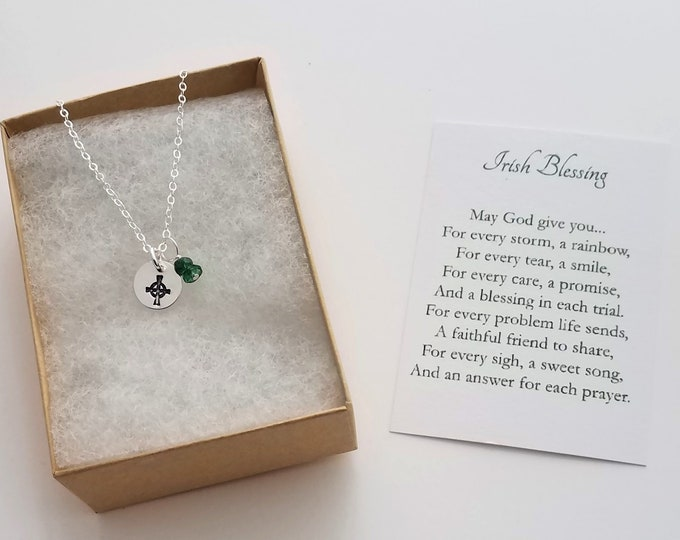 Irish Blessing Charm Necklace, Prayer Card Necklace, Celtic Cross Necklace, Gift Idea, Celtic Jewelry, Gift for Her, Jewelry, Necklace