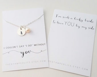 Initial Necklace, Bridesmaid Necklace, Personalized Gift, Bridesmaid Proposal, Wedding Jewelry, Bridal Jewelry, Gift for Bridesmaid