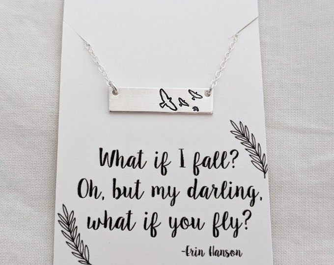 Graduation Gift, What if You Fly Necklace, Motivational Gift, Bar Charm Necklace, Gift for Her, Inspirational Necklace, Gift Idea