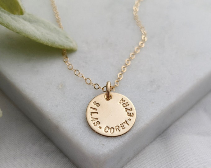 Tiny Gold Name Charm, Personalized Necklace for Moms, Minimal Gold Necklace, Gold Discs With Name, The Stamped Life