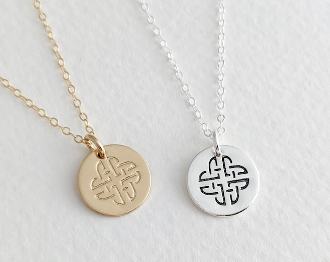Celtic Knot Necklace, Irish Jewelry, Gold Celtic Knot Charm, Gaelic Necklace, Gift for Her