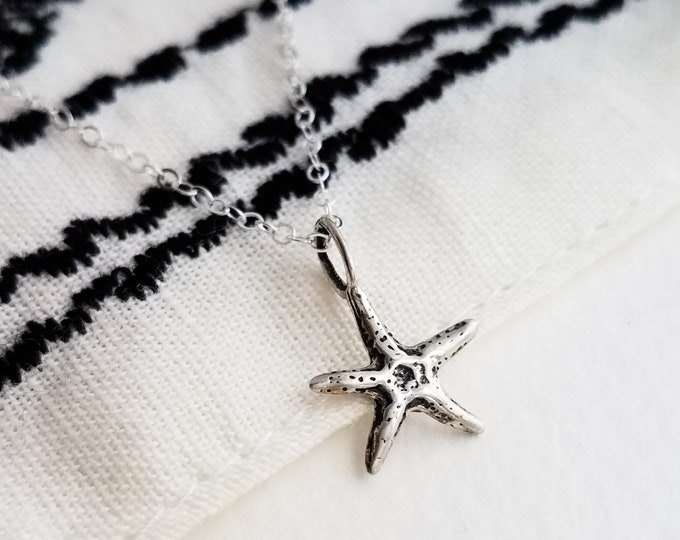 Starfish Necklace, Beach Wedding, Bridesmaid Gift, Nautical Jewelry, Starfish Charm, Sterling Silver Charm Necklace
