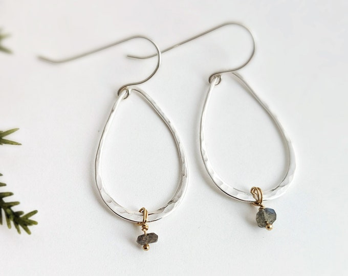 Silver Minimal Earrings, Teardrop Earrings, Mixed Metal, Laboradorite Gemstones, Dainty Earrings, Minimal Jewelry, Gift Idea, Gift for Her