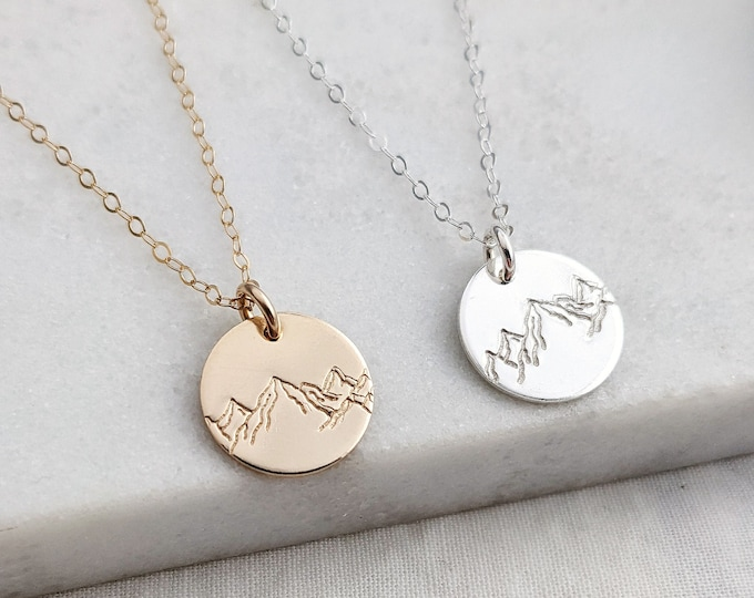 Mountain Disc Necklace, Mountain Charm Necklace, Dainty Necklace, Nature Lover Gift