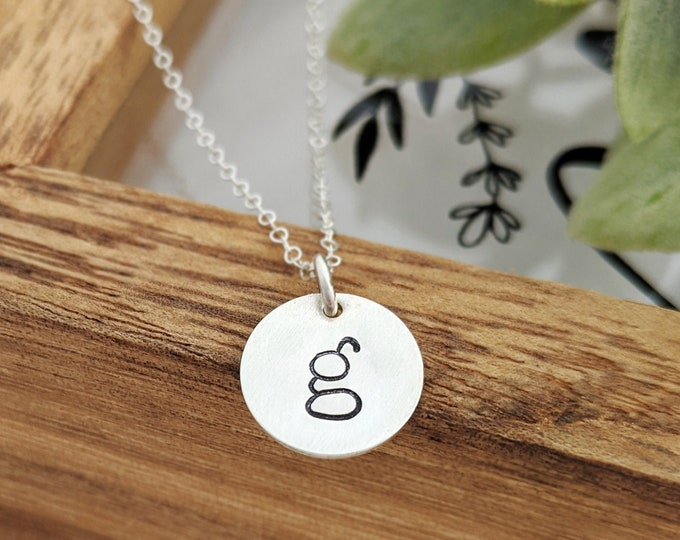 Silver Initial Necklace, Custom Initial Charm, Personalized Jewelry, Hand Stamped Necklace, Gift for Her, Gift Idea
