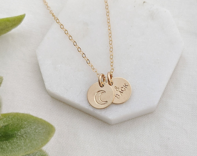 To The Moon and Back Necklace, Love You To The Moon Gift, Moon Necklace, Stocking Stuffer, Gift For Her