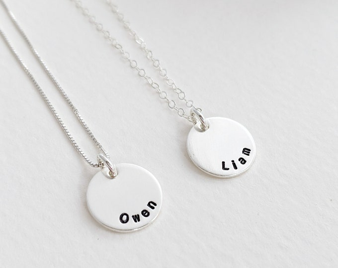 Custom Name Necklace, Tiny Charms, Personalized Kids Name Necklace, Personalized Necklace, Two Names, Sterling Silver, Gift for Moms
