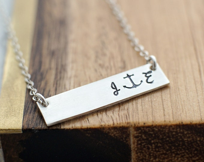 Initial Bar Necklace, Unique Gift for Her, Anchor Charm