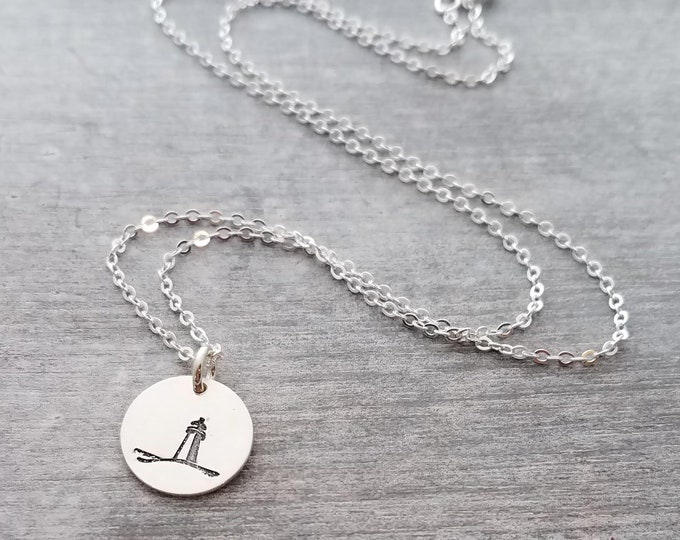 Lighthouse Necklace, Beach Necklace, Bridesmaid Gift, Nautical Jewelry, Lighthouse Charm, Sterling Silver Charm Necklace