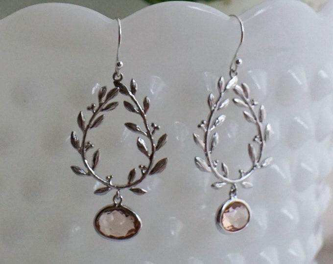 Silver Laurel Leaf Earrings, Laurel Wreath Jewelry, Modern Bridal Jewelry, Peach Bridesmaid Jewelry, Laurel Leaf, The Stamped Life