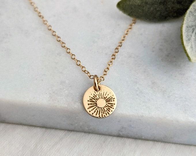 Gold Sunburst Necklace, Gold Sun Necklace, Gift for Her