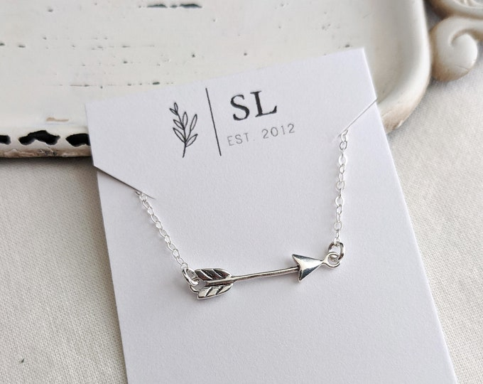 Arrow Necklace, Dainty layering Necklace, Gift Idea, Sterling Silver Charm Necklace, Arrow Gift