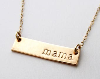 Gold Bar Necklace, Personalized Jewelry, Minimal Necklace, 14k Gold Fill, Gifts for Mom, Mothers Day Gift, Gift for Her