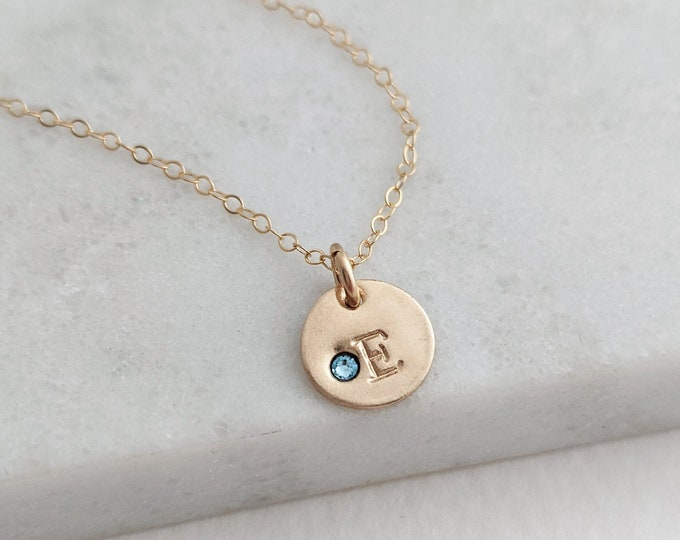 Tiny Gold Initial Necklace | Birthstone Charm Necklace | Gift for New Moms | Mothers Necklace | Gift for Her
