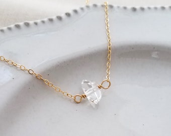 Gold Raw Crystal Necklace, Herkimer Diamond Necklace, Raw Stone Jewelry, Layering Necklace