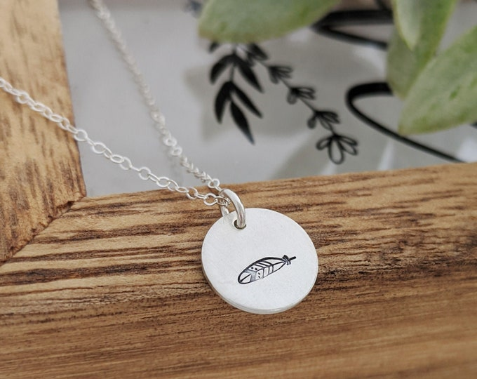 Feather Disc Necklace, Silver Necklace, Inspirational Jewelry, Graduation Gift