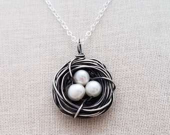 Nest Necklace, Sterling Silver Birds Nest Necklace, Oxidized Silver, Mama Bird, Mothers Necklace, One, Two, Three or Four Eggs, Mothers Day