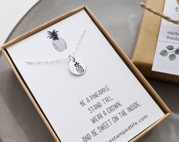 Pineapple Necklace, Pineapple Gift, Be Sweet, Encouragement Gift, Inspirational Message, Gift for Her, Gold or Silver