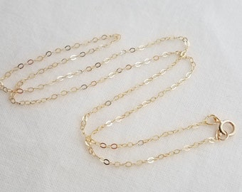 14k Gold Filled Chain, Your Choice of Length, Jewelry Supplies Cable Chain, Replacement chain