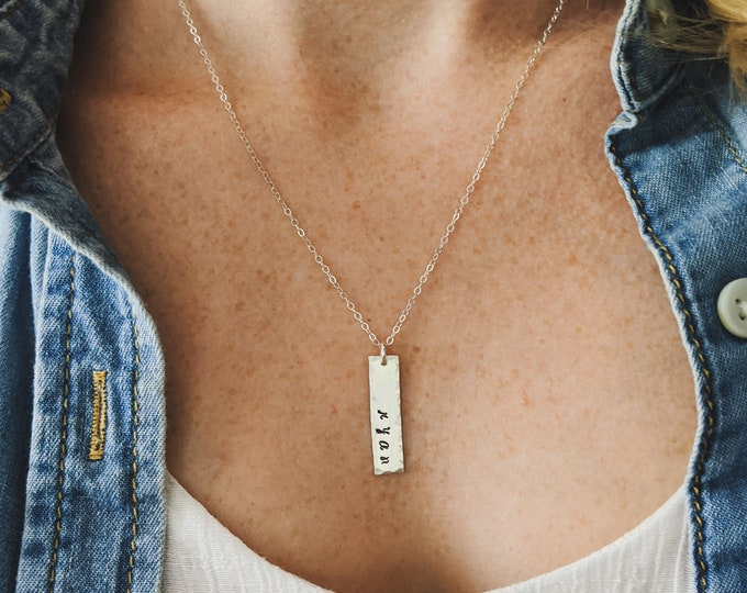 Personalized Necklace with Name, Custom Name Necklace, Personalized Nameplate Necklace, Sterling Silver, Personalized Gifts for mom