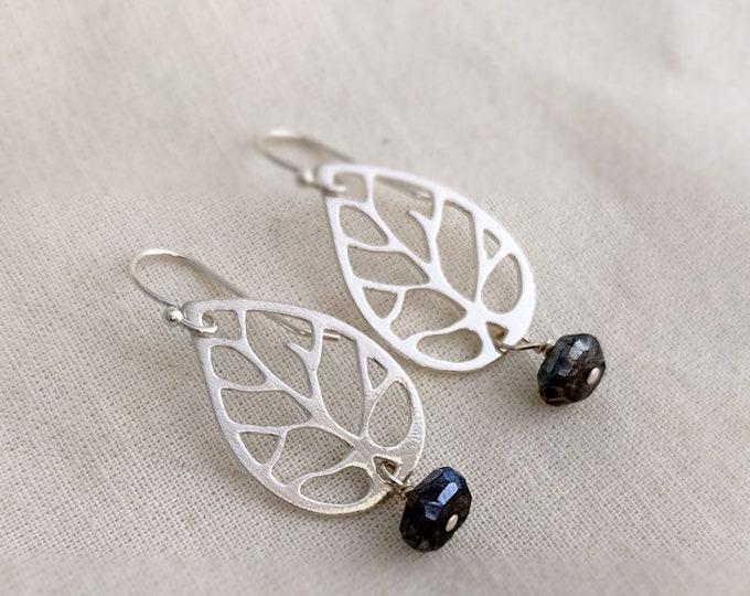 Silver Laboradorite Earrings, Leaf Silhouette, Dangle Earrings, Minimal Jewelry, Gift Idea, Gift for Her