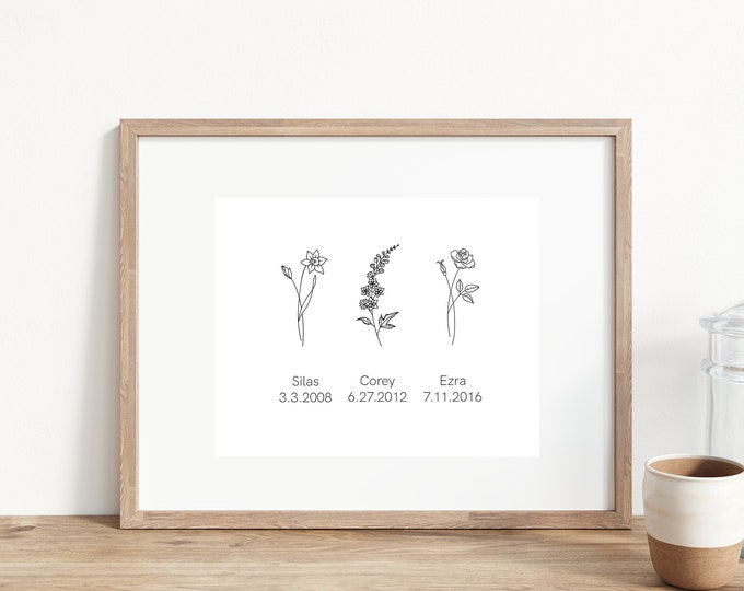 Custom Birth Flower Print | 5x7 | Kids Birth Flowers| Mothers Day Gift Idea | Unique Gift Idea