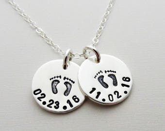 Baby Birth Date Necklace, Custom Personalized Necklace, Sterling Discs, Hand Stamped Jewelry, Necklace for Moms, Gift Idea