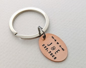 Initial Key Ring, Wedding Gift, Key Chain, Gift for Groom, Hand Stamped, Anniversary Gift Idea
