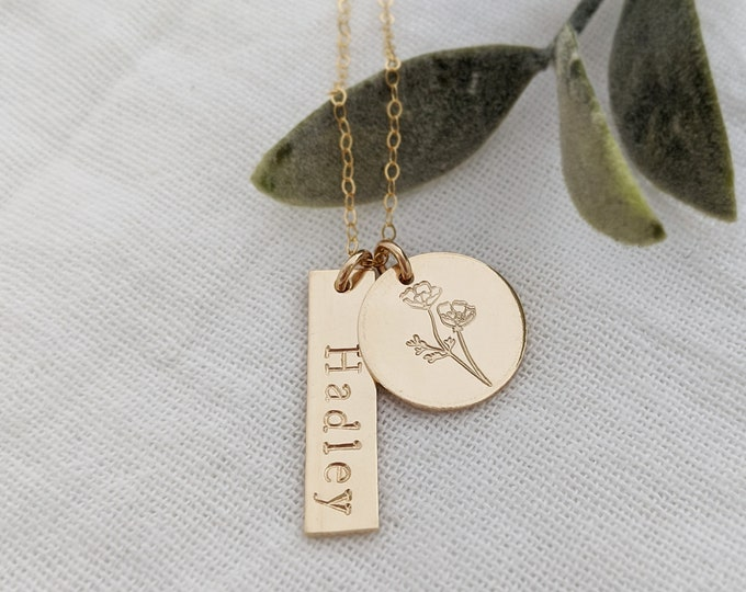 Personalized Birth Flower Necklace, Gift for Her, Gift Idea, Gold Filled, Sterling Silver