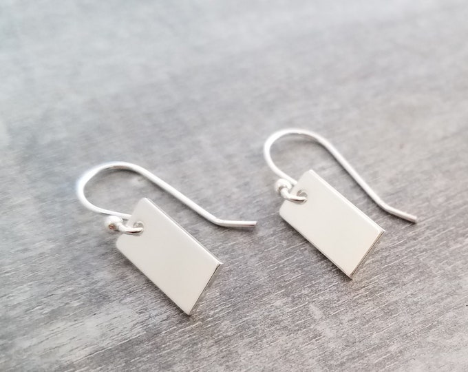 Mini Silver Bar Earrings, Minimal Earrings, Silver Charm Earrings, Gift Idea