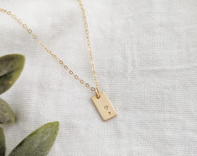 Gold Semicolon Necklace, Inspirational Charm Necklace, Tiny Charm, Sterling Silver, Gold