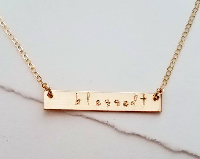 Blessed Bar Charm Necklace, Cross Necklace, Layering Necklace, Religious Necklace