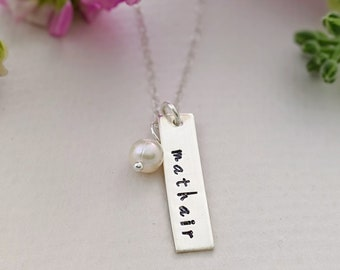 Gaelic Mother Necklace, Mathair, Mom, Mother, Nana or Grandma,  Hand Stamped Necklace, Bar charm Name Necklace, Gift Idea, Jewelry