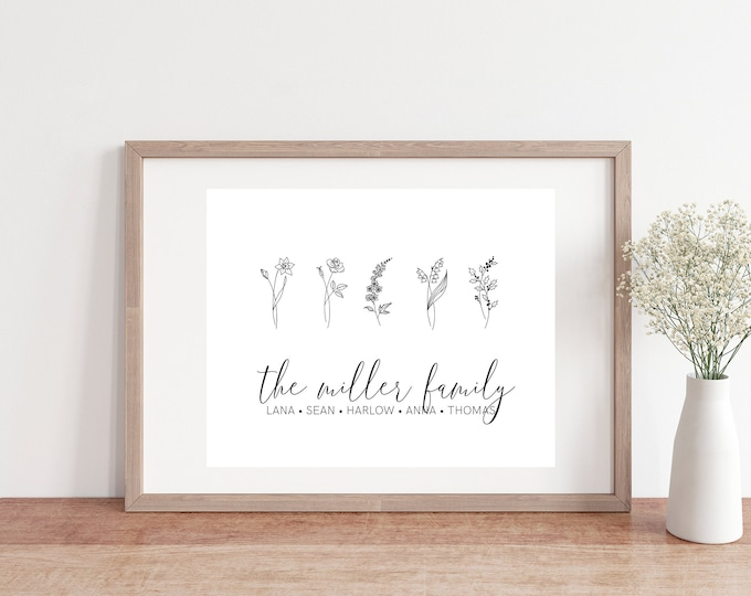 Custom Family Birth Flower Print | 5x7 | Family Name Birth Flowers | Mothers Day Gift Idea | Unique Gift Idea