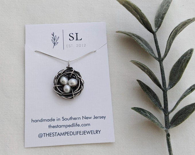 Messy Nest Necklace, Sterling Silver Birds Nest Necklace, Mama Bird, Mothers Necklace, Gift for Mom, The Stamped Life