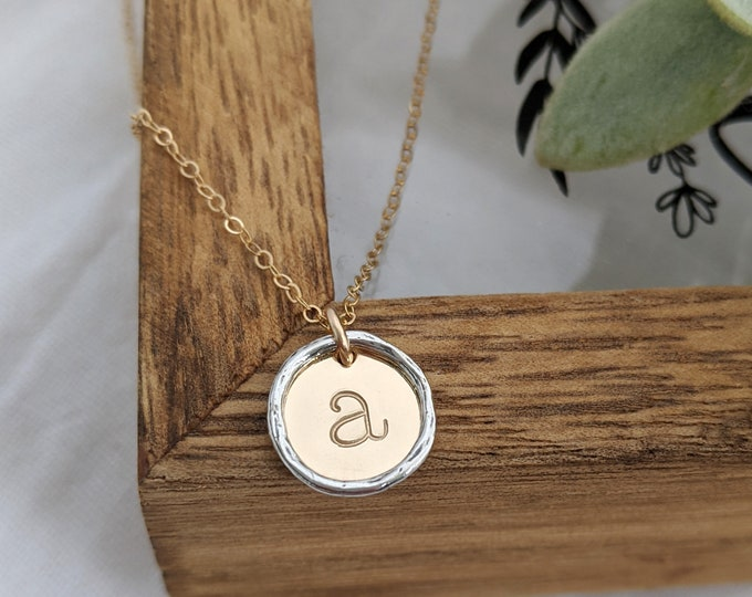 Gold Initial Necklace, Mixed Metal, Personalized Jewelry, Initial Pendant