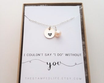 Bridesmaid Necklace, Bridesmaid Proposal, Wedding Jewelry, Freshwater Pearl, Bridal Jewelry,  Gift Idea, Gift for Bridesmaid