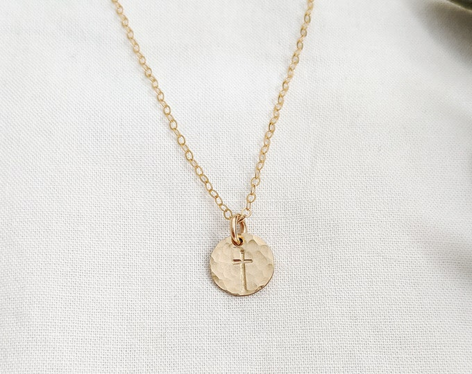 Gold Cross Necklace, Dainty Cross, Charm Necklace, Minimal Jewelry, The Stamped Life
