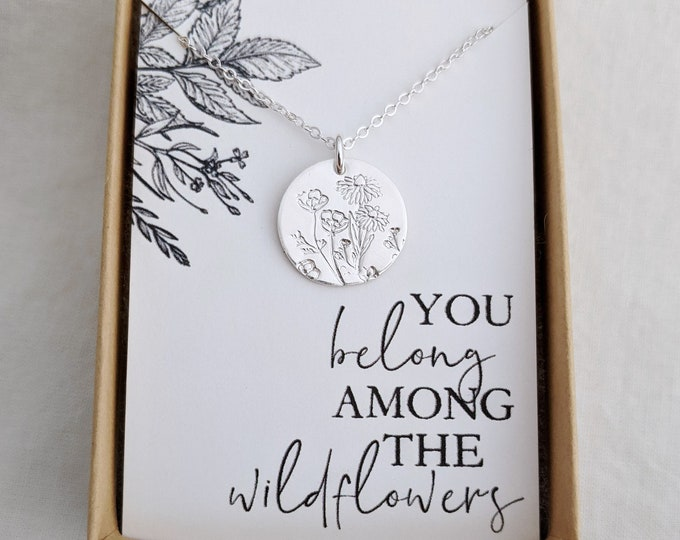 You Belong Among the Wildflowers Necklace, Tom Petty, Charm Necklace, Wildflowers, Gift for Her