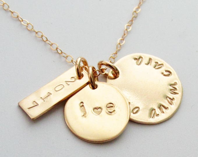 Personalized Gold Charm Necklace, Mo Anam Cara, Gaelic, Anniversary Gift, Personalized Initial, Gift for Her