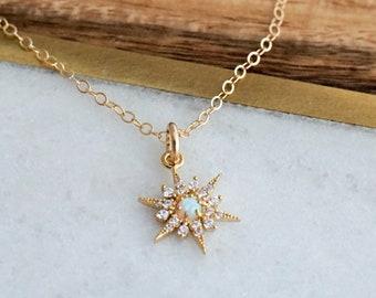 Opal North Star Necklace, Dainty Minimal Necklace, Gold Star Necklace, The Stamped Life, Gold Necklace