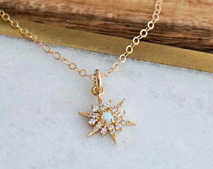 Opal Star Necklace, Dainty Minimal Necklace, Gold Star Necklace, The Stamped Life, Gold Necklace
