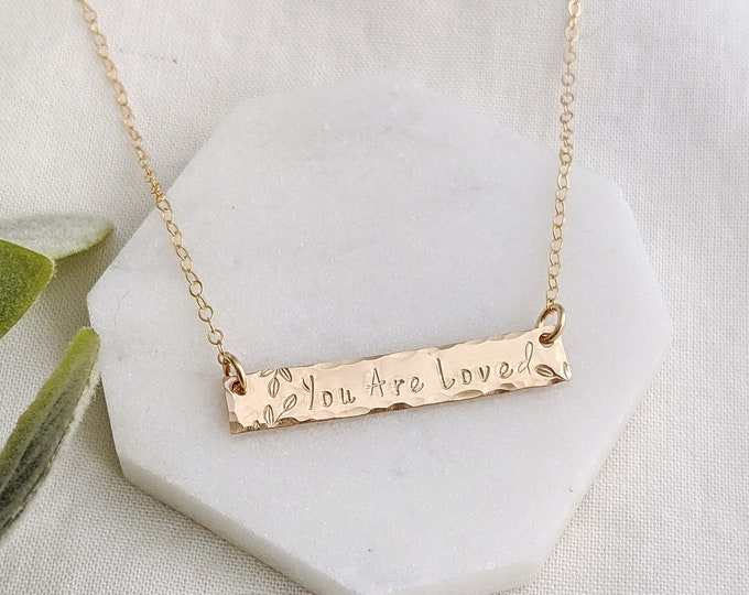 You Are Loved Bar Necklace, Personalized Jewelry, Custom Word Necklace, Hand Stamped Jewelry