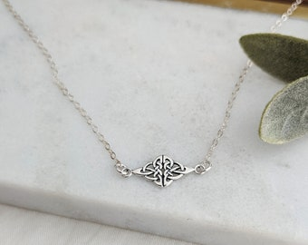 Silver Celtic Necklace, Celtic Knot Necklace, Gift for Her