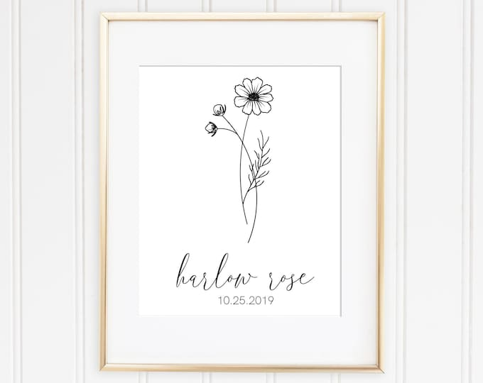 Baby Birth Flower Print | 5x7 | Nursery Art | Mothers Day Gift Idea | Unique Baby Shower Gift Idea