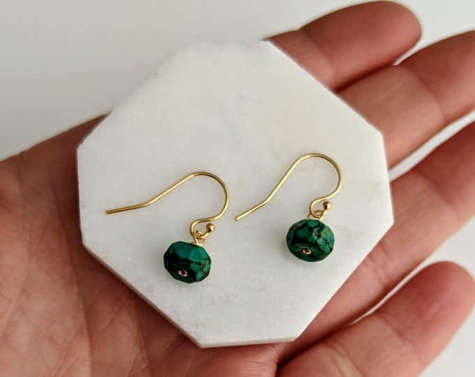 Turquoise and Gold Earrings, Drop Earrings, Tiny Stone Earrings, Bridesmaid Gift for Her