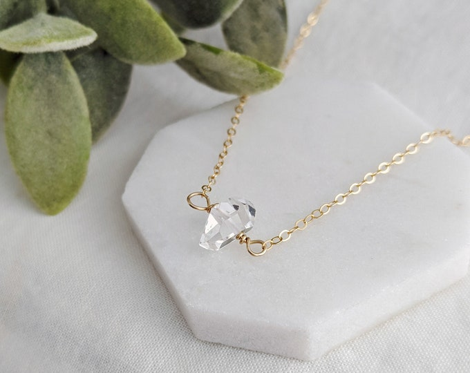 Gold Crystal Necklace, Herkimer Diamond Necklace, Raw Stone Jewelry, Layering Necklace