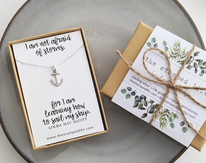 I am not afraid of storms, for I am learning how to sail my ship | Motivational Necklace | Anchor Necklace | Nautical Jewelry | Gift for Her