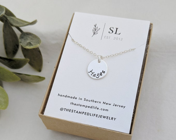 Custom Name Necklace, Hand Stamped Necklace, Personalized Gift Idea